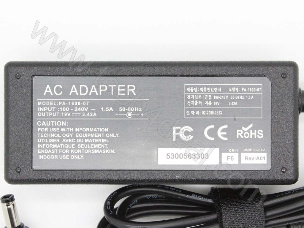 TOSHIBA 19V 342A 65W 5525mm Replacement AC Adapter